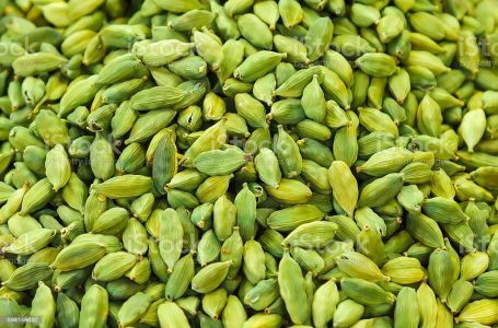 Pods of green cardamom in a pile